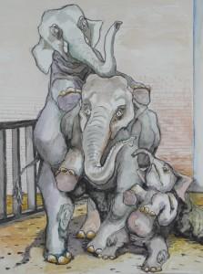 De olifanten schrikken